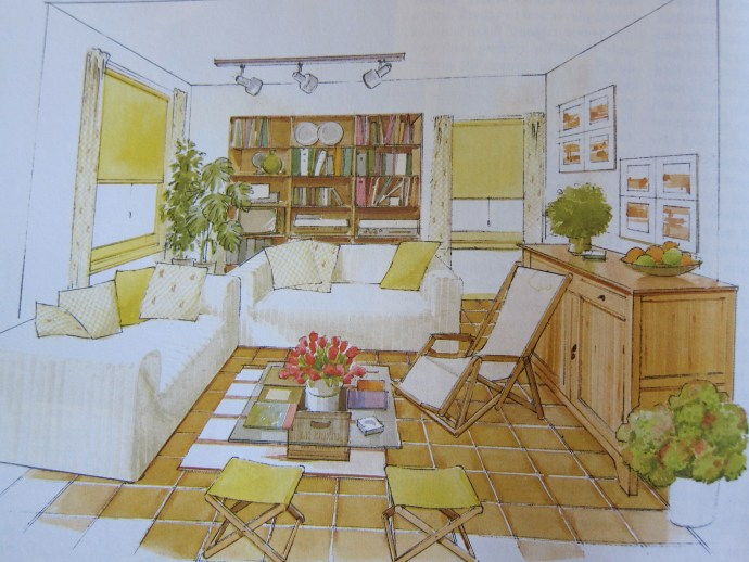 Interior Design Rendering from 1980s