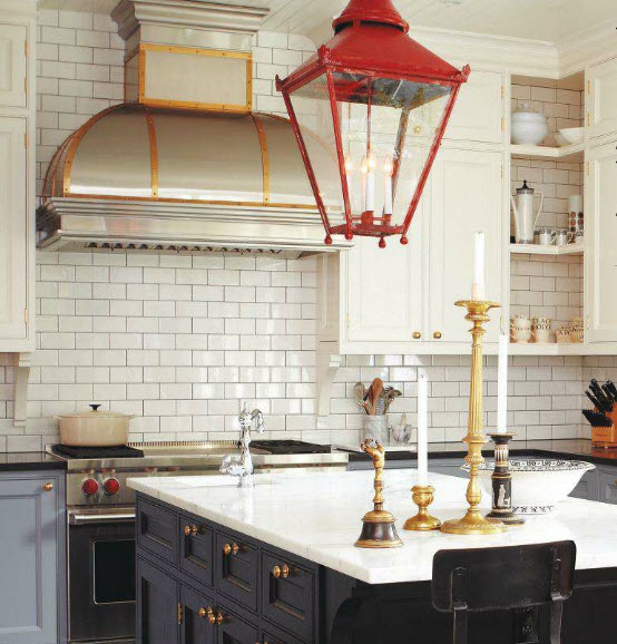 Kitchen with Carrara Marble & Brass Hardware