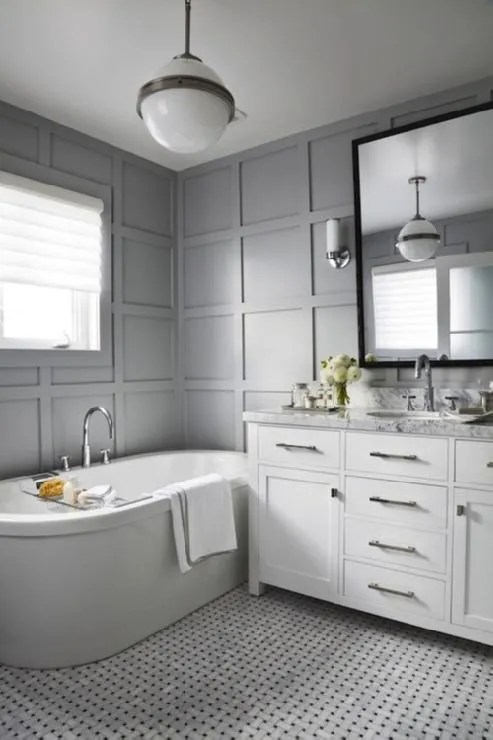 White Gray Bathroom With Carrara Marble