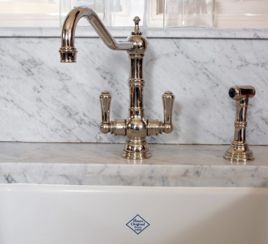 Polished Nickel with Carrara Marble