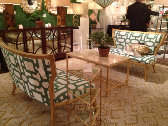 Klismos Settees in green/white trellis - Currey & Co #hpmkt