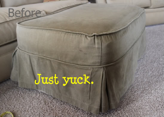 Worn-out Slipcovered Ottoman