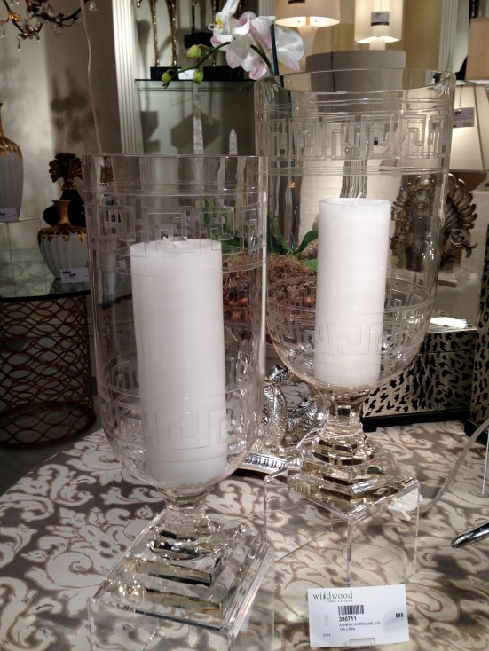 Greek Key Hurricanes @ Wildwood Lamps | #hpmkt Spring 2014 | via Interiors For Families