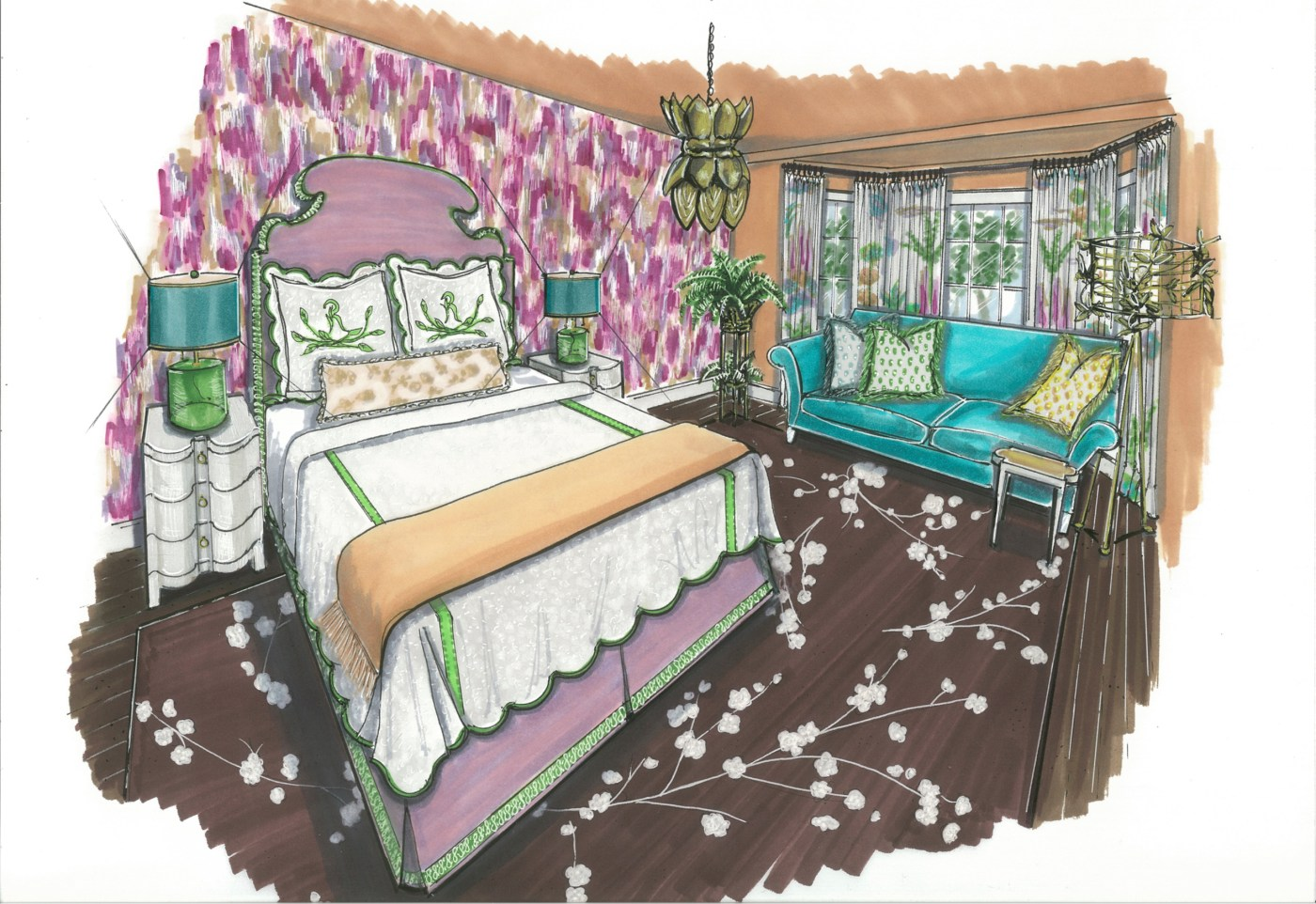Junior League of Boston 2016 Show House Mother-in-Law Bedroom   Rendering by Jane Gianarelli   Kelly Rogers Interiors