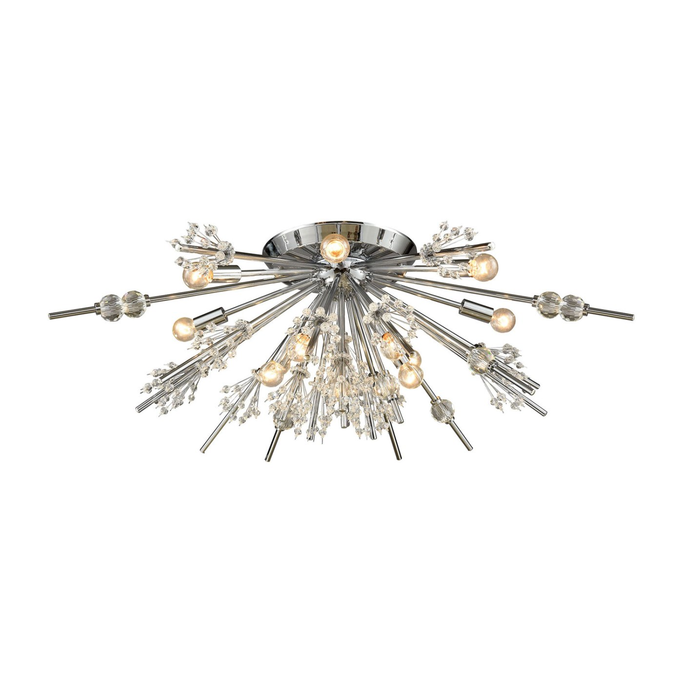 Elk Lighting Starburst Polished Chrome 34-Inch 12-Light Semi-Flush Mount via Bellacor | One Room Challenge | Kelly Rogers Interiors