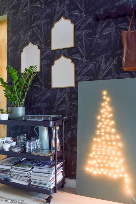 kerstboom op hout van licht
