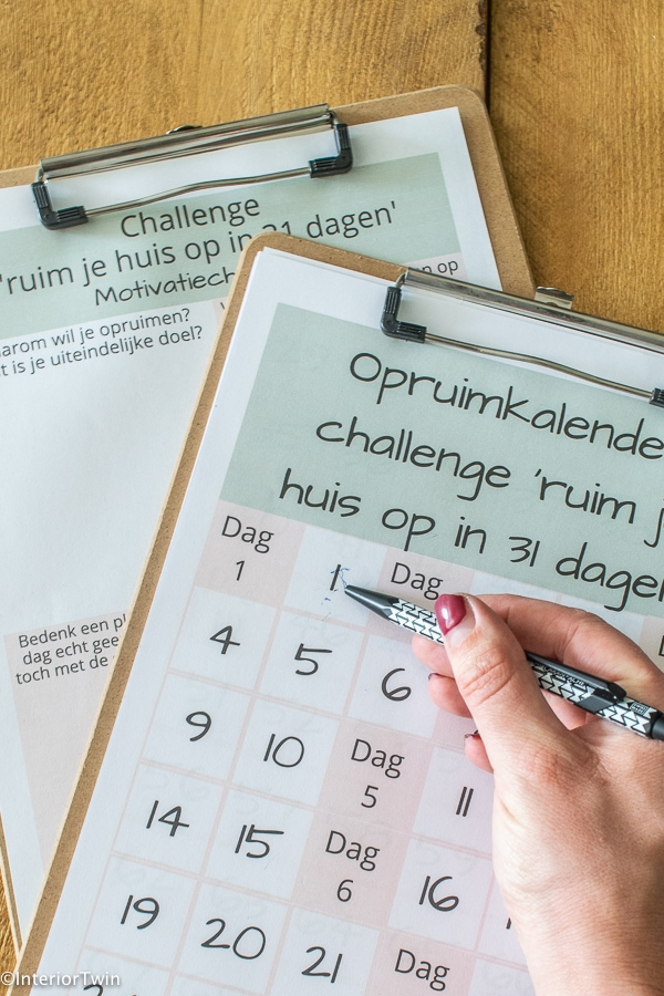 opruimkalender checklist motivatie
