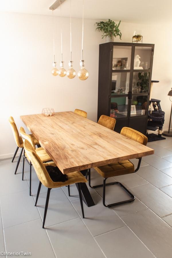 houten blad eettafel