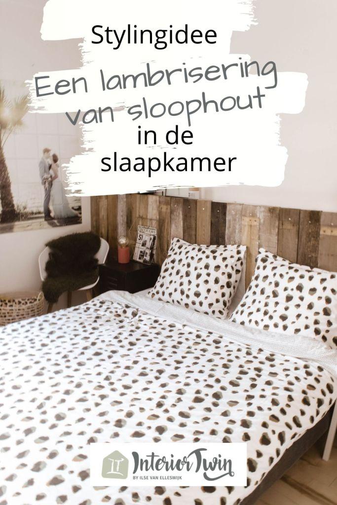 lambrisering van sloophout slaapkamer