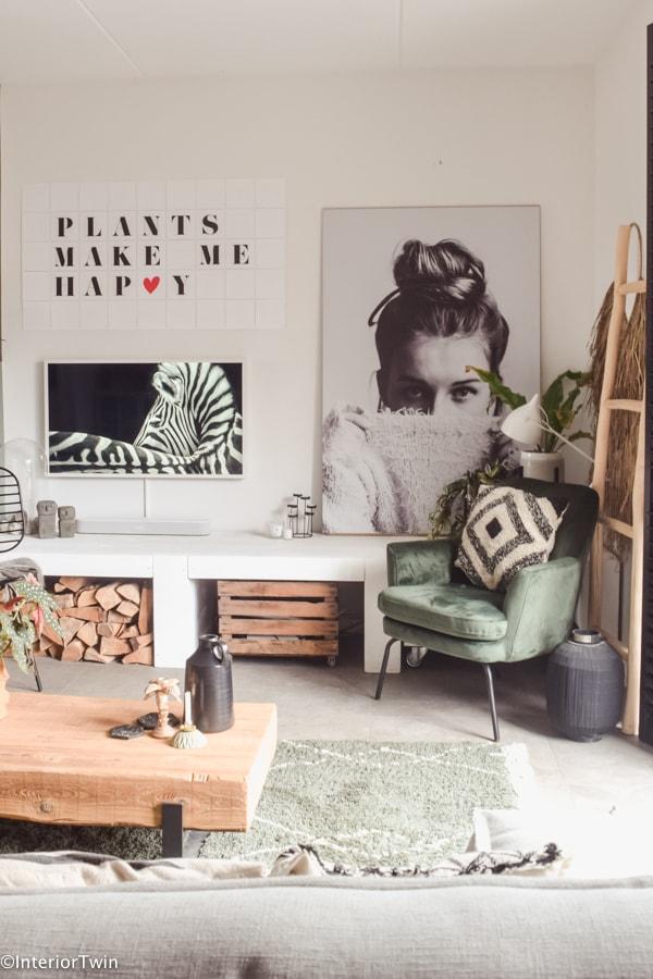 groene fluwelen stoel woonkamer