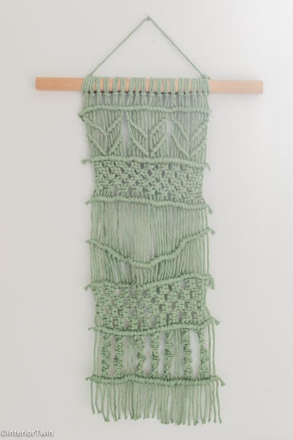 groen macrame wandkleed muurhanger