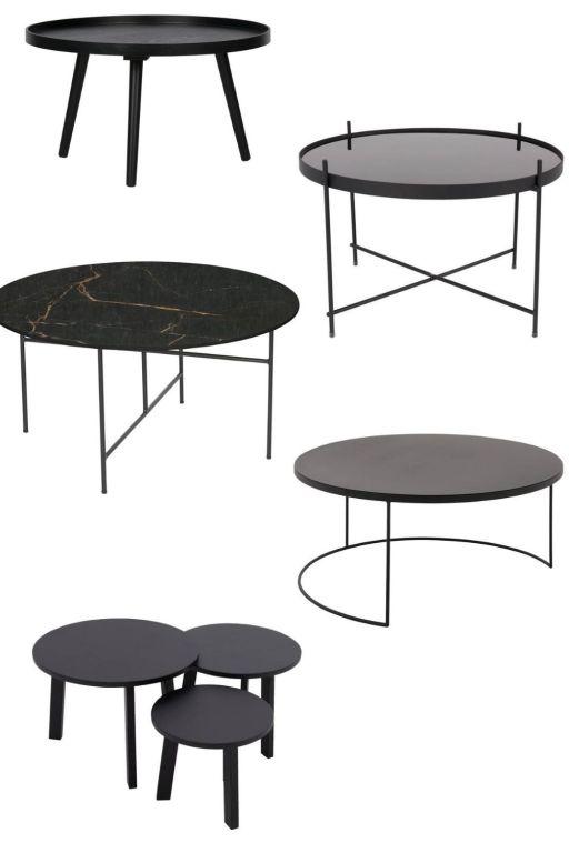 zwarte ronde salontafels