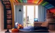 Photo: http://www.peerflix.com/bedroom-design-for-kids-with-colorful-theme/wonderful-design-idea-with-rainbow-ceiling-and-modern-bed-also-table-with-unique-chair/