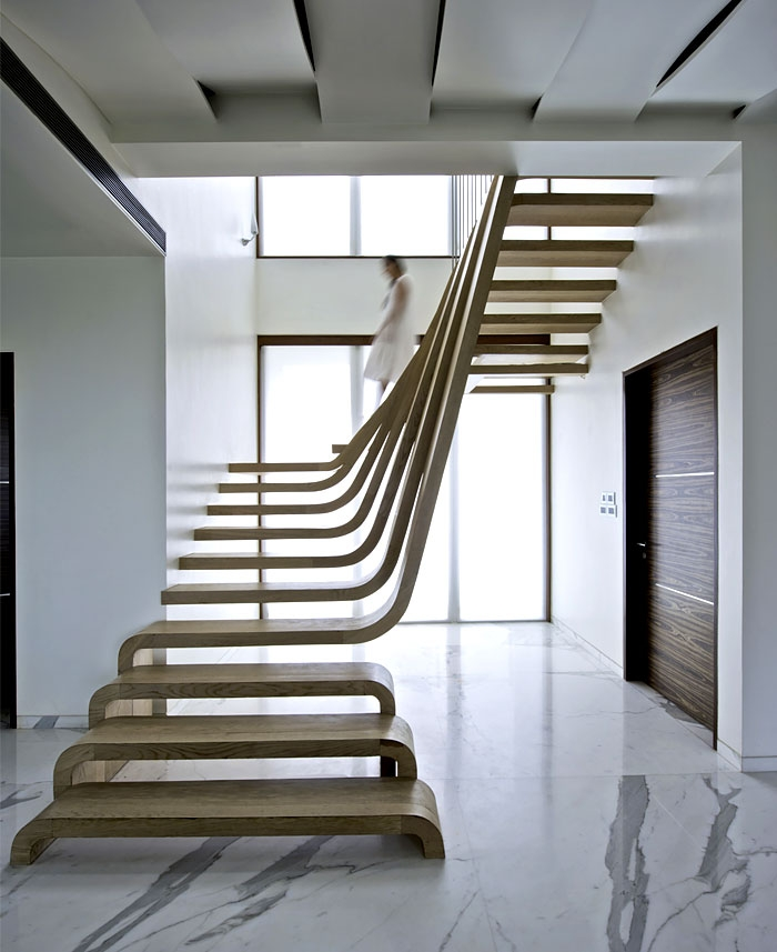 Sophisticated Indian Apartment With Woven Staircase | Interior Staircase Designs For Indian Homes