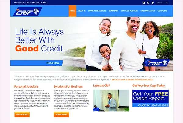 CRIF Credit Bureau Jamaica site designed by Interlinc Communications