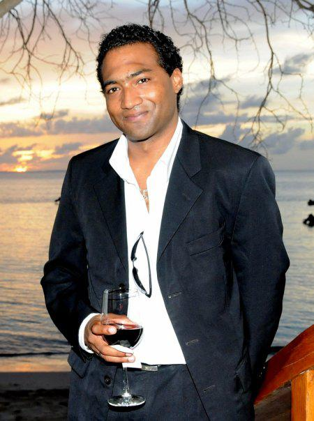 Marcel Robinson the President and CEO of Interlinc Communications at Anguilla launch of new client Da'Vida Restaurant