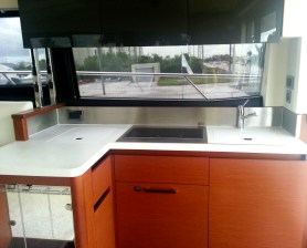Light and airy galley aboard 2014 Prestige 450S.