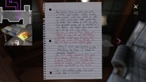 In this note, found in a folder on an endtable in a couch nook as you come through the passage into the first floor's east wing, sketches out Sam's and Lonnie's respective relationships with their mothers.