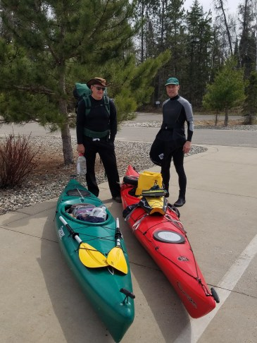 In the parking lot of Mary Gibbs Mississippi Headwaters Center - ready to portage to the river and launch.