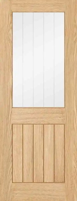 LPD Belize 1L Pre-finished Oak Clear with Frosted Lines Internal Glazed Door 1