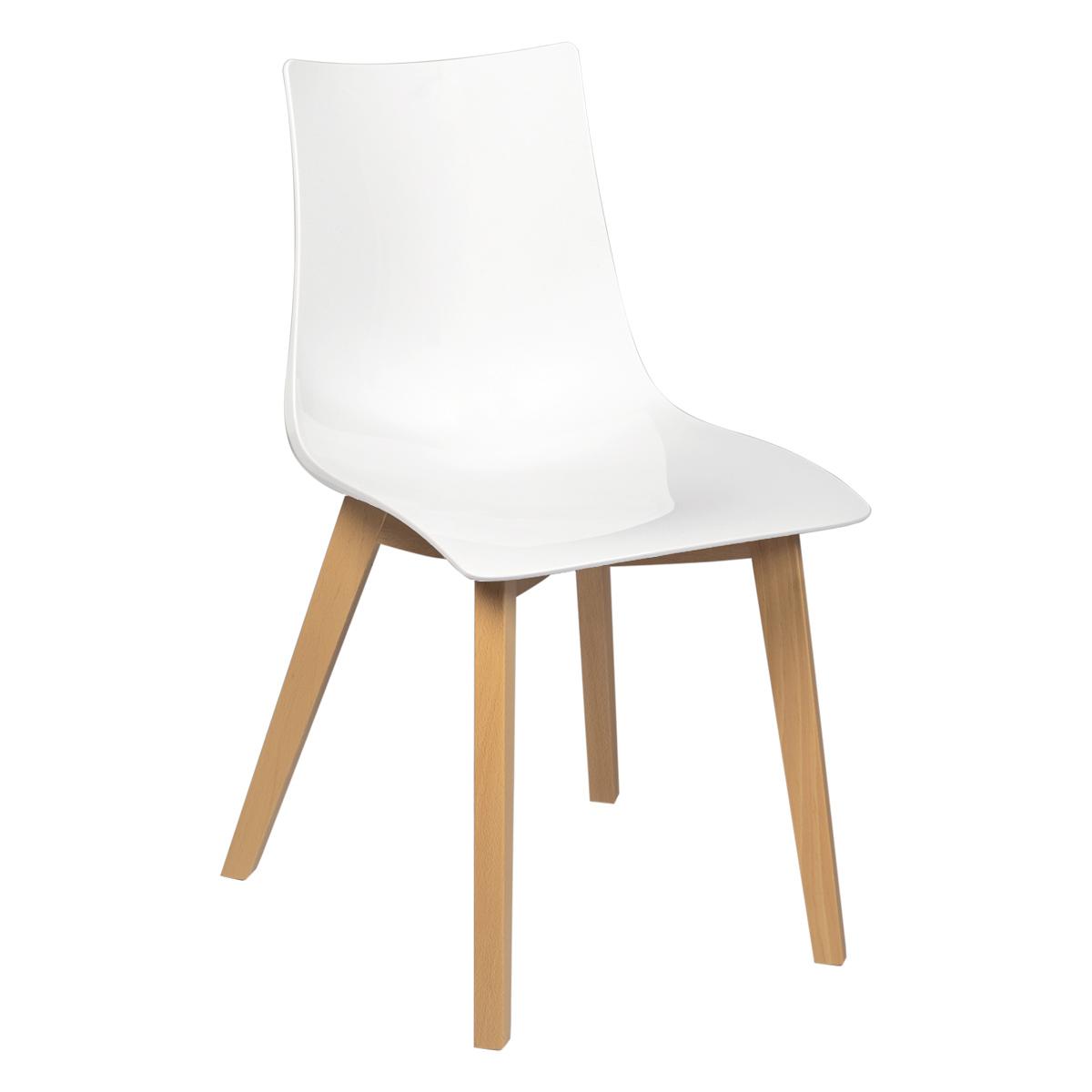 chaise zen blanc laque bois