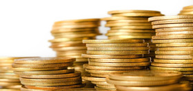 Image: Golden Coins Stacked on White background