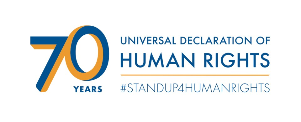 "A blue and yellow graphic that says, ""70 Years: Universal Declaration of Human Rights. #STANDUP4HUMANRIGHTS."""