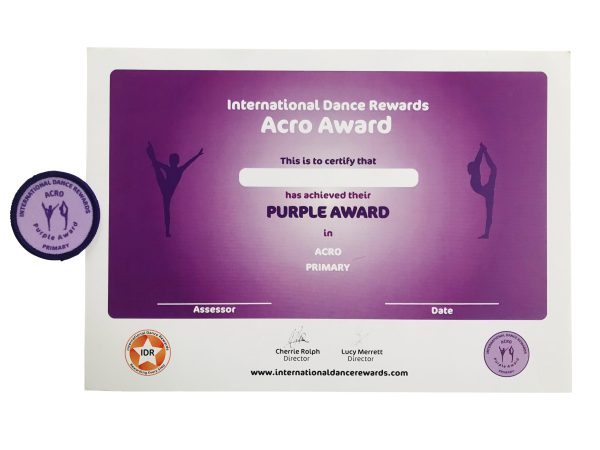 International Dance Rewards, dance rewards, dance school award, dance school rewards, dance school, dance school award, dance accreditation, dance accreditations, dance reward system, dance badge, dance certificate, dance badge and certificate, children's dance school, Acro award purple