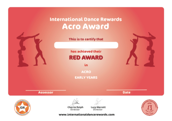 International Dance Rewards, dance rewards, dance school award, dance school rewards, dance school, dance school award, dance accreditation, dance accreditations, dance reward system, dance badge, dance certificate, dance badge and certificate, children's dance school, acro dance award early years red