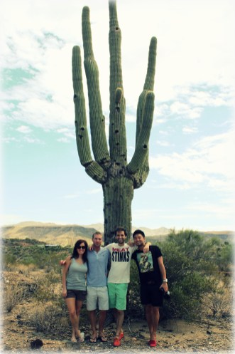 Standing with my friends in front of a Saguaro Cactus in the Sonoran Desert.