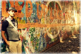 The Lennon Wall in Prague, Czech Republic. Once a normal wall, since the 1980s it has been filled with John Lennon-inspired graffiti and pieces of lyrics from Beatles songs.
