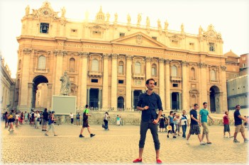 In front of St. Peter's Basilica in Vatican City