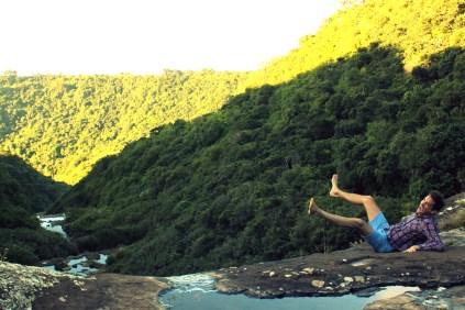 Sitting on top of waterfall in Mauritius