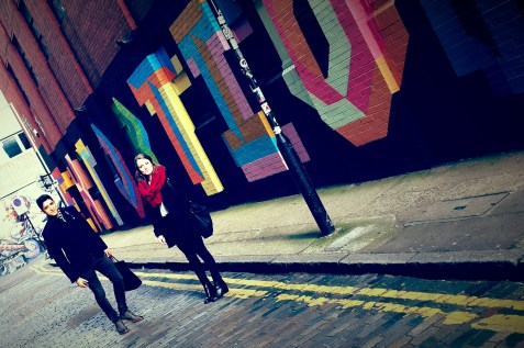 Juan and Sinead taking in all the colors of Shoreditch
