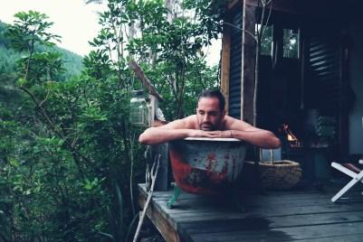 Enjoying the outdoor tub at Fossicker's Hu