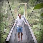 Crossing the wire bridge