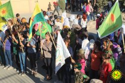 Young women demonstrate in Dirbesiye