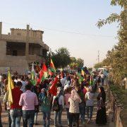 march against ezidi genocide in Derik