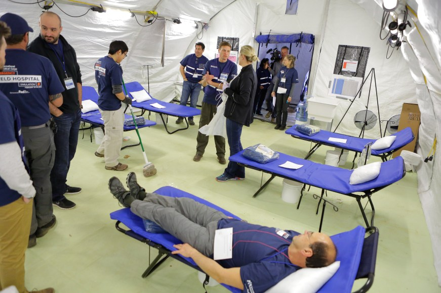 Simulation participants inside the Field hospital