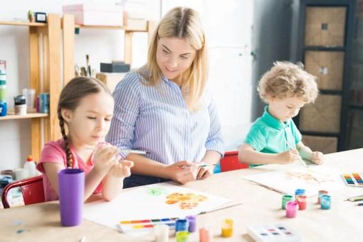 Mother homeschooling her kids