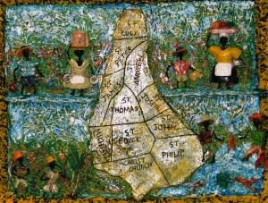 "Shades Of Barbados II – 16""x20"" – (1995-2008), acrylic, wire & mixed media on wood"