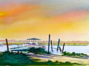 Artist Roger Tatum, The Lonely Boatyard, watercolor