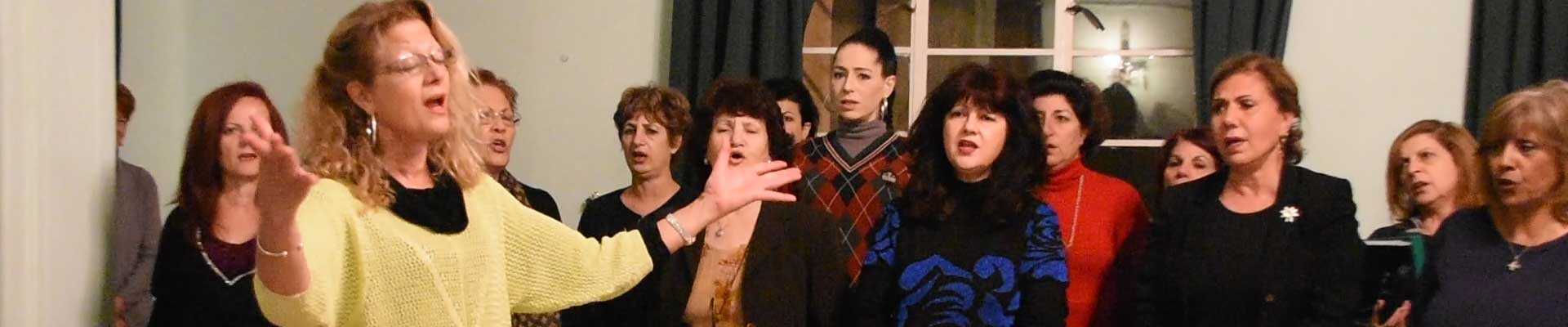Rehearsal for the  Bicommunial Choir for Peace in Cyprus.