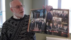 Marik Abel, a volunteer at the Estonian Jewish Center's museum, tells the history of Estonian Jewish life.