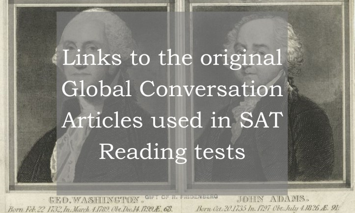Links to Global Conversation Passages from SAT Reading Tests