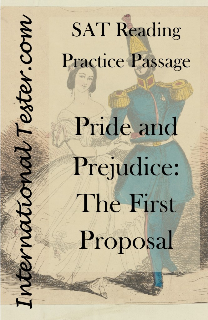Cover for SAT Reading practice passage for Pride and Prejudice, downloadable for free from www.teacherspayteachers.com