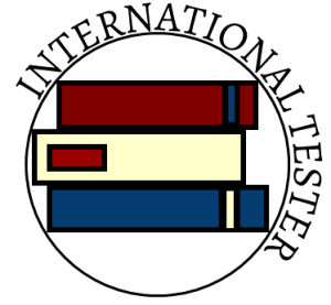 International Tester's Logo. A stack of 3 books red, cream and blue surrounded by a black circle with the name international tester set in a circle.