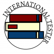 International Tester's Logo. A stack of 3 books with a circle around with the words International tester.