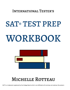 Front cover of International Tester's SAT Test Prep Workbook. White cover with Navy lettering and a stylized set of books.