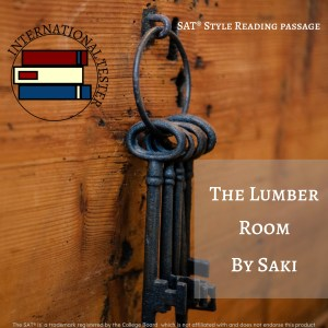 Cover of the SAT Practice Passage for The Lumber Room. An image of 4 iron keys hanging off a wooden wall.